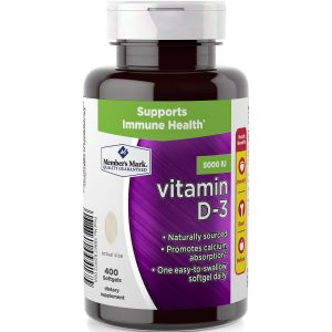 Suplemento Diétetico De 5.000 UI De Vitamina D-3, Member's Mark. (400 Pastillas).