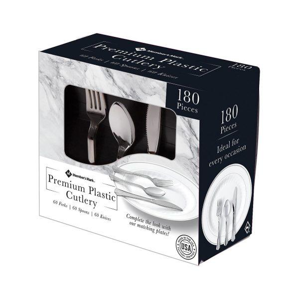 Cubiertos Premium De Plástico Color Plateado, Member's Mark. (180 Unidades).